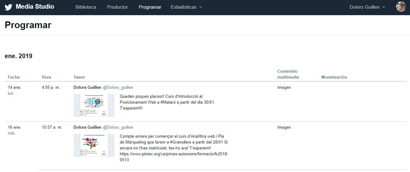 Media Studio - Revisió del contingut programat